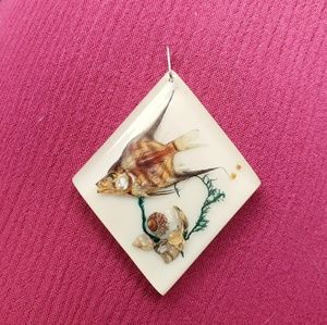 Jewelry - Fish Specimen & Shell Resin Diamond Pendant